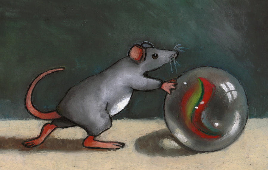 Mouse Pastel - Mouse Rolling Marble by Joyce Geleynse