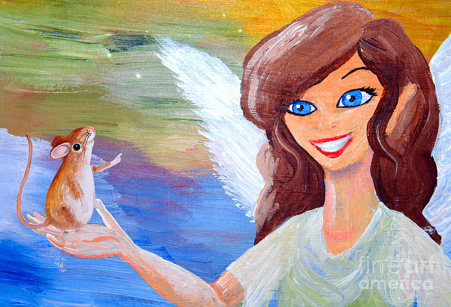 Mouse Talking To An Angel Painting  - Mouse Talking To An Angel Fine Art Print