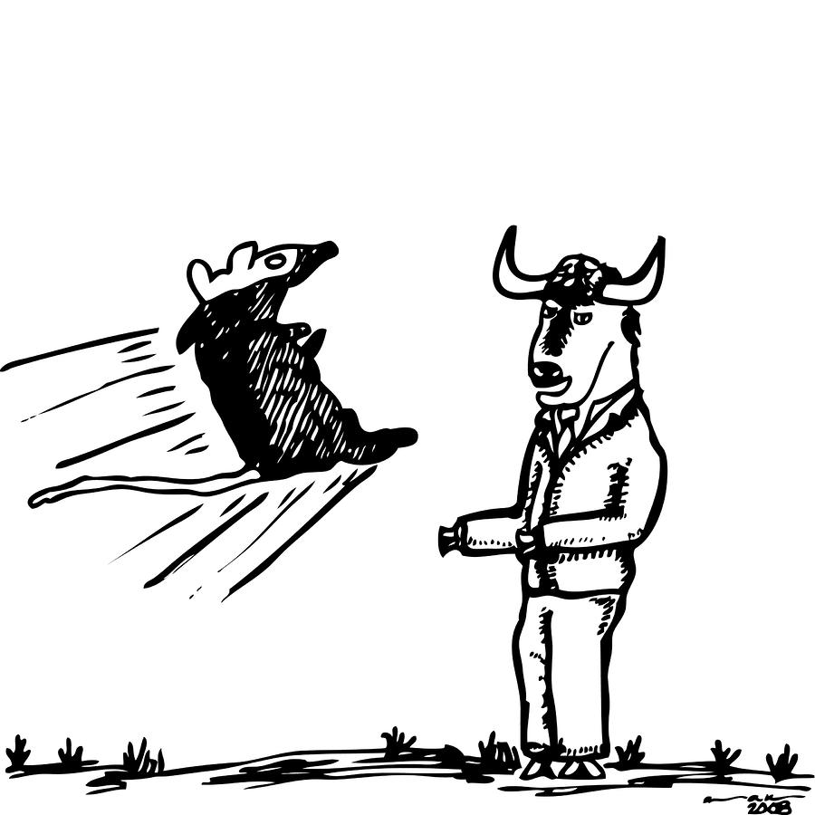 Mouse Vs. Buffalo Drawing  - Mouse Vs. Buffalo Fine Art Print