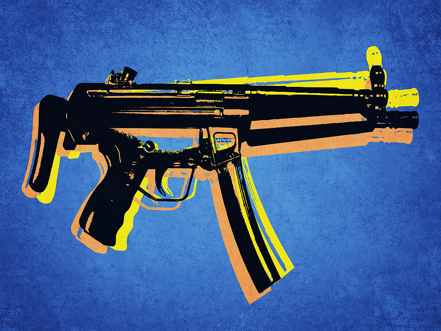 Mp5 Sub Machine Gun On Blue Digital Art  - Mp5 Sub Machine Gun On Blue Fine Art Print