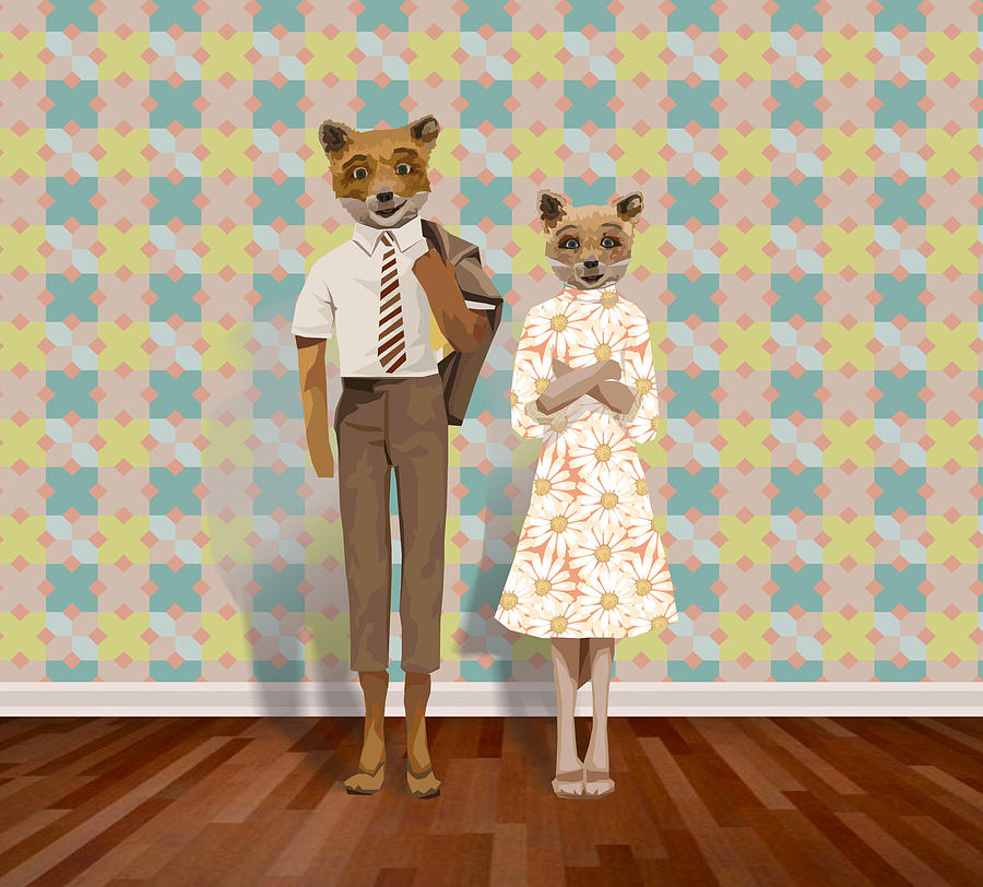 Mr. And Mrs. Fox Digital Art  - Mr. And Mrs. Fox Fine Art Print