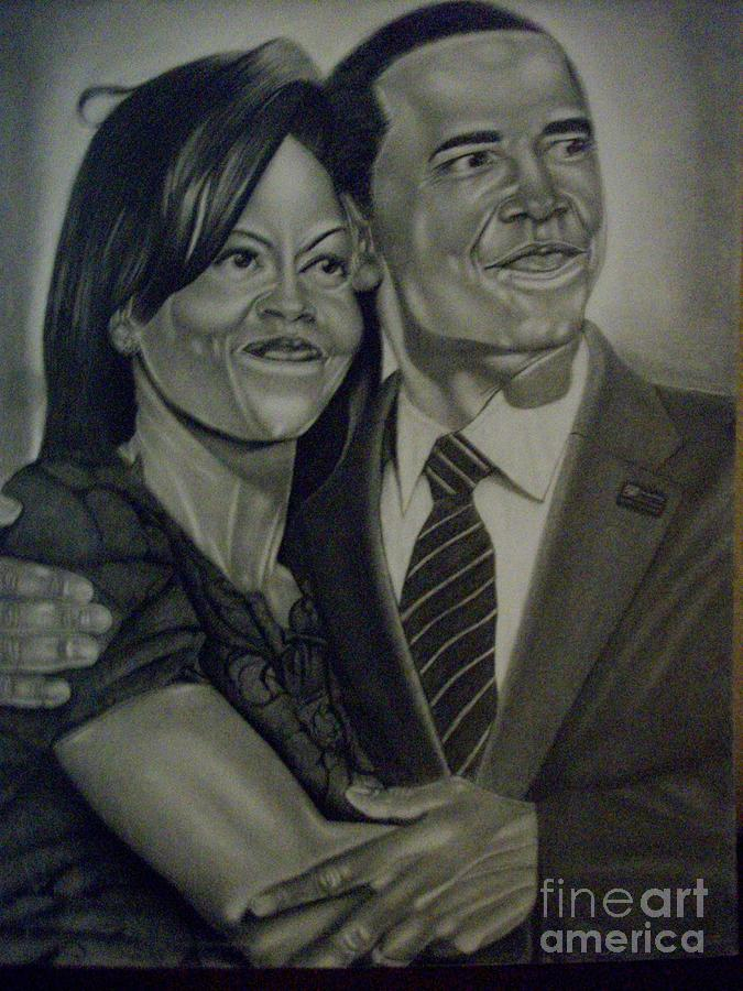 Mr. And Mrs. Obama Drawing  - Mr. And Mrs. Obama Fine Art Print