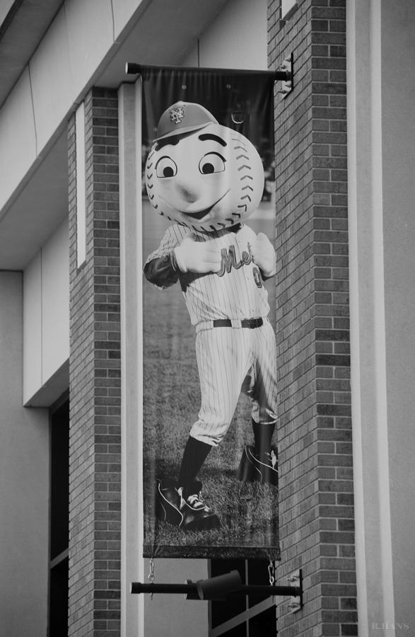 Shea Stadium Photograph - Mr Met In Black And White by Rob Hans