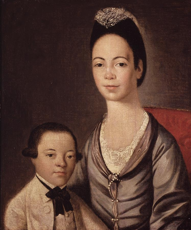 Mrs Painting - Mrs. Aaron Lopez And Her Son Joshua by  Gilbert Stuart