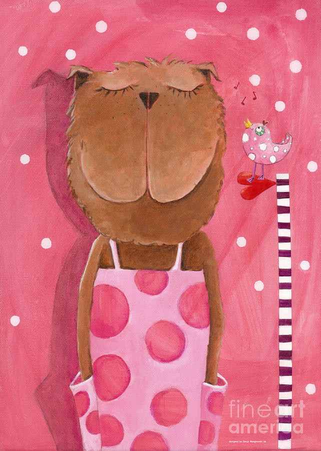 Mrs. Bear Love Music Painting  - Mrs. Bear Love Music Fine Art Print