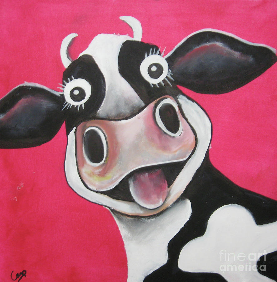 Mrs cow by caroline peacock for Cow painting print