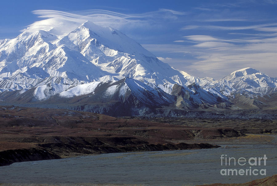 Mt. Mckinley And Lenticular Clouds Photograph