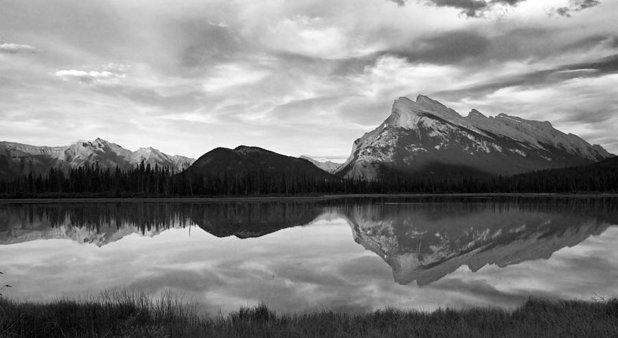 Water Reflection Photography Black And White Mt. Rundel Refl...