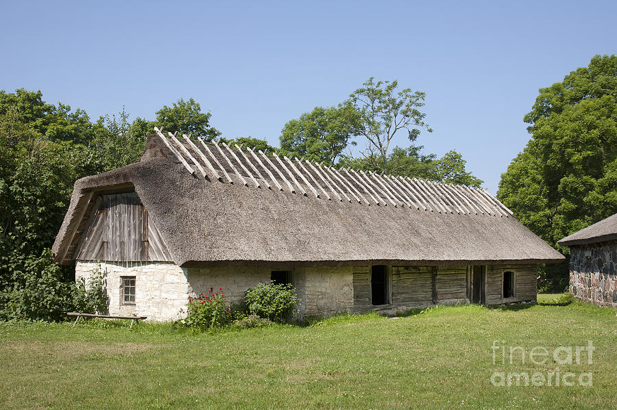 Antique Photograph - Muhu Museum Exterior In Estonia by Jaak Nilson