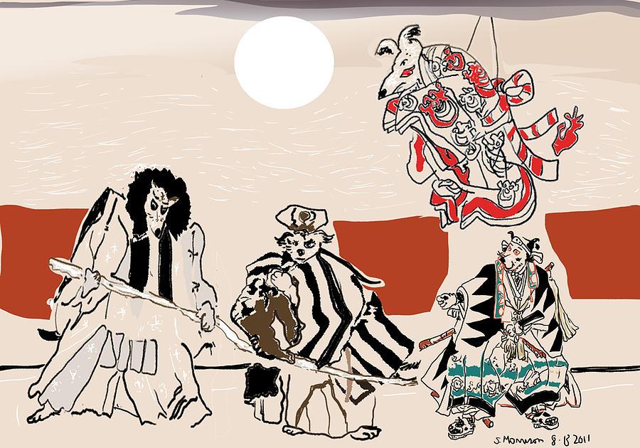 Drama Painting - Mukikabuki Theatre by Susie Morrison