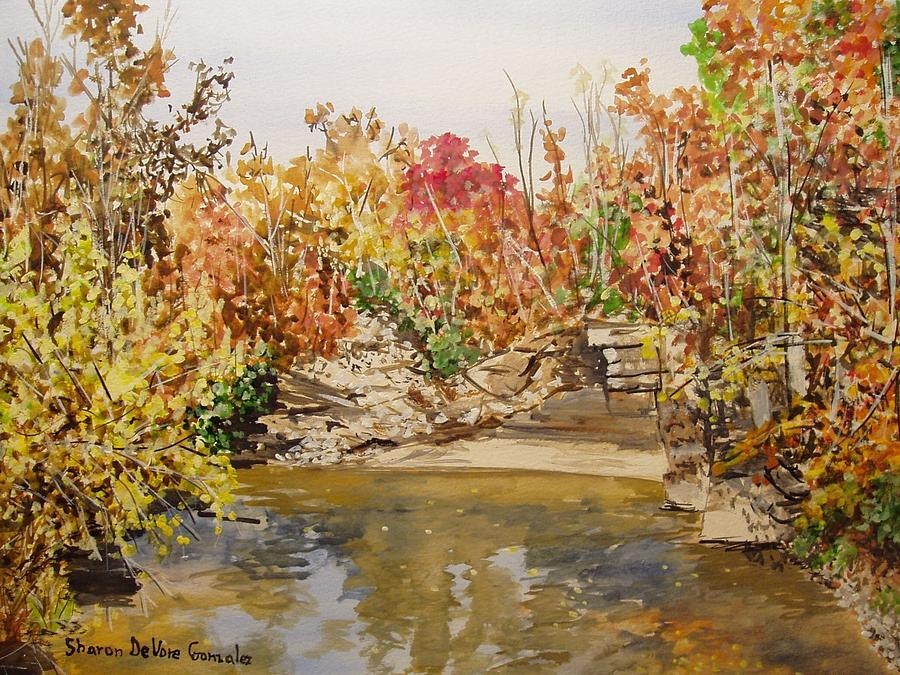 Mulberry River In Fall Painting