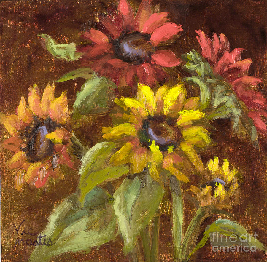 Multicolored Sunflowers With Gold Leaf By Vic Mastis Painting  - Multicolored Sunflowers With Gold Leaf By Vic Mastis Fine Art Print