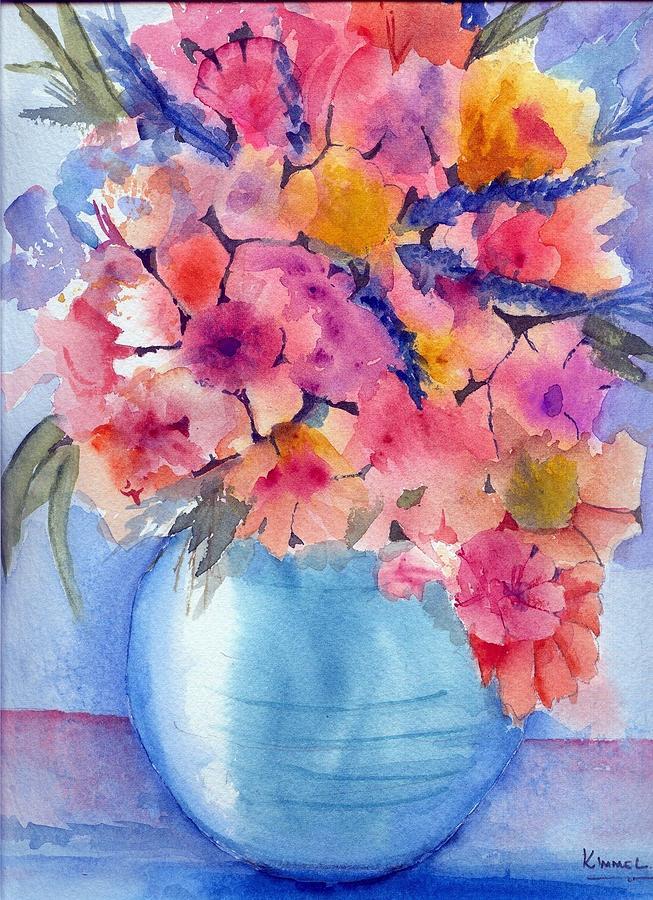 Multiflora In Turquoise Vase Painting