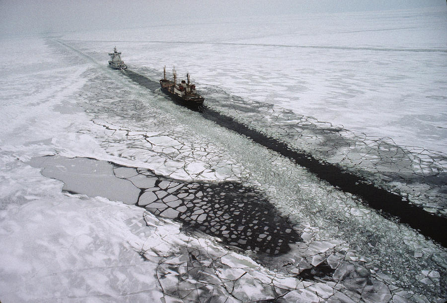 Multinational Fleet Of Icebreakers Photograph