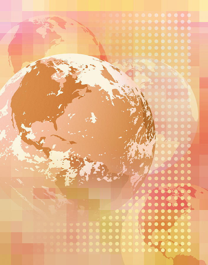 Multiple Globes Showing North And South America Digital Art