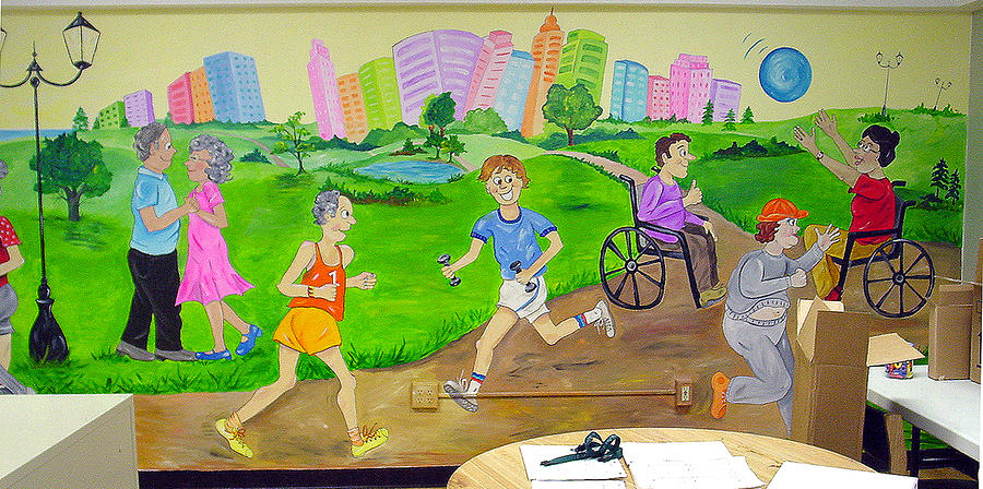 Mural therapy room painting by donna laplaca for Cartoon mural painting