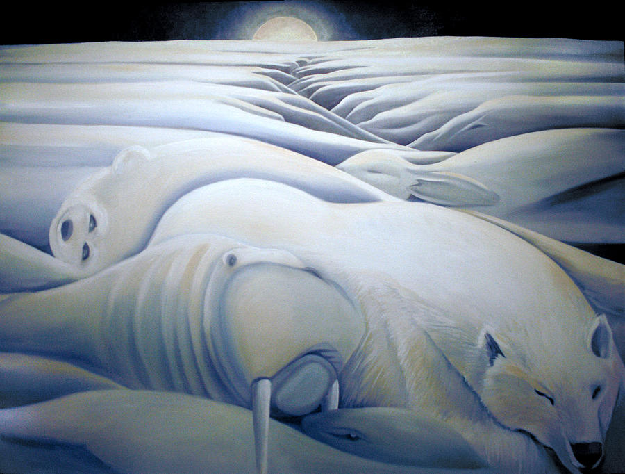 Mural  Winters Embracing Crevice Painting  - Mural  Winters Embracing Crevice Fine Art Print