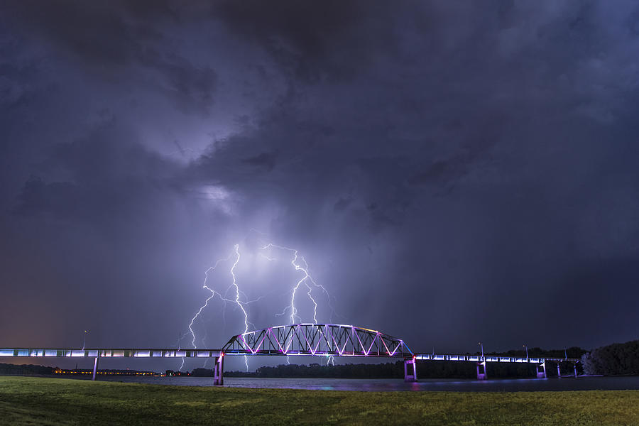 Muscatine Bridge Lightning Photograph  - Muscatine Bridge Lightning Fine Art Print