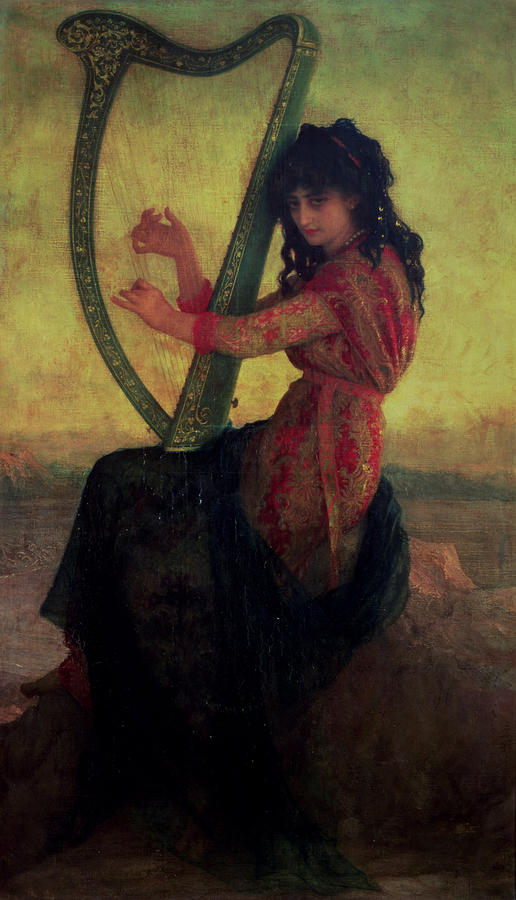 Muse Playing The Harp Painting  - Muse Playing The Harp Fine Art Print