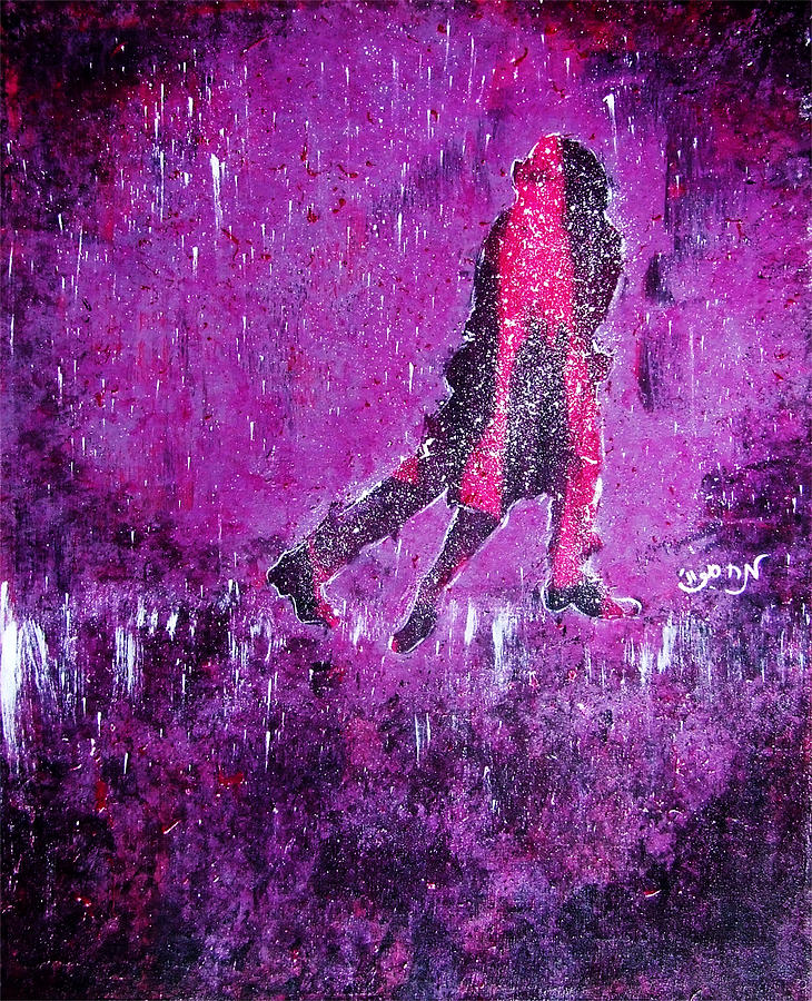 Music Inspired Dancing Tango Couple In Purple Rain Contemporary Lyrical Splattered And Emotional Painting