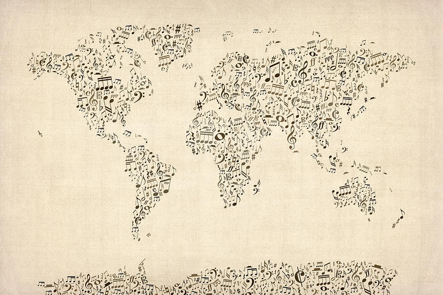 Music Notes Map Of The World Map Digital Art  - Music Notes Map Of The World Map Fine Art Print