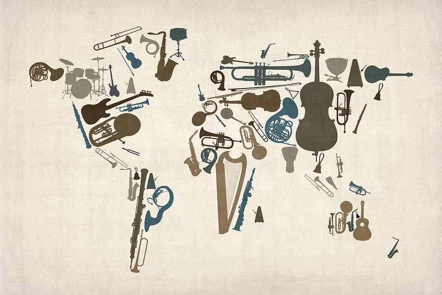 Musical Instruments Map Of The World Map Digital Art