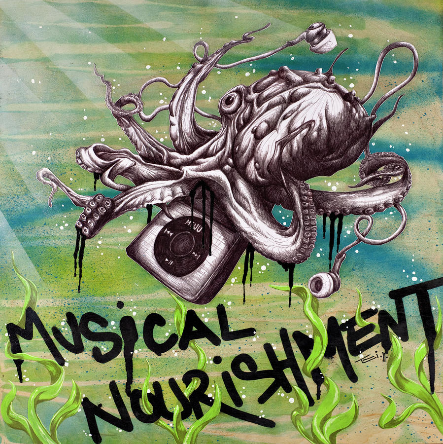 Musical Nourishment Drawing  - Musical Nourishment Fine Art Print
