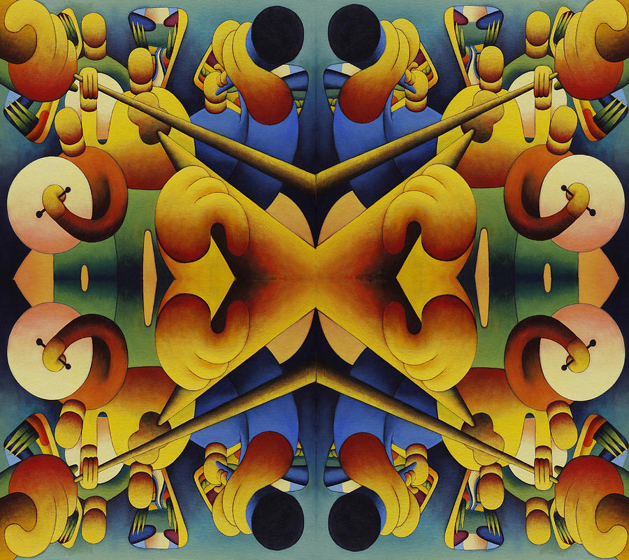 Musical Repetition Composition 3 Painting by Alan Kenny