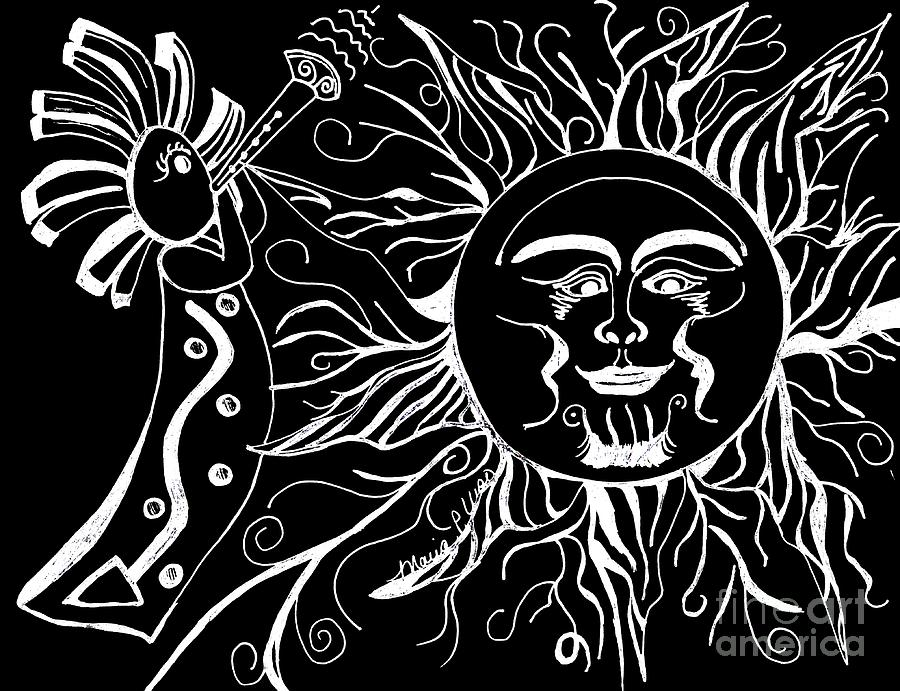 Musical Sunrise - Inverted Drawing  - Musical Sunrise - Inverted Fine Art Print