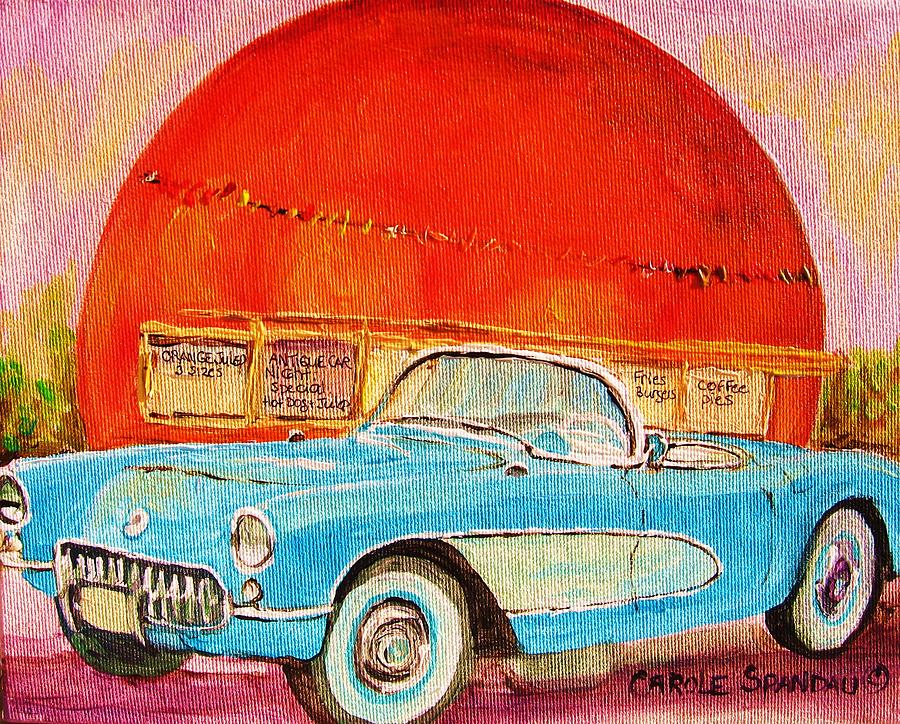 My Blue Corvette At The Orange Julep Painting