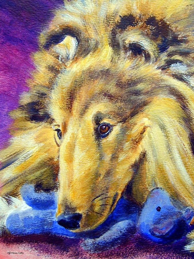 Shetland Sheepdog Painting - My Blue Teddy - Shetland Sheepdog by Lyn Cook
