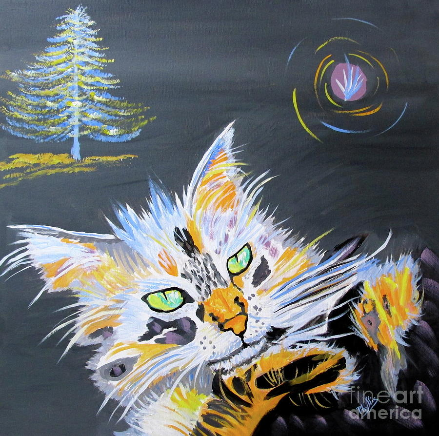 My Calico Cat Wizard Painting  - My Calico Cat Wizard Fine Art Print