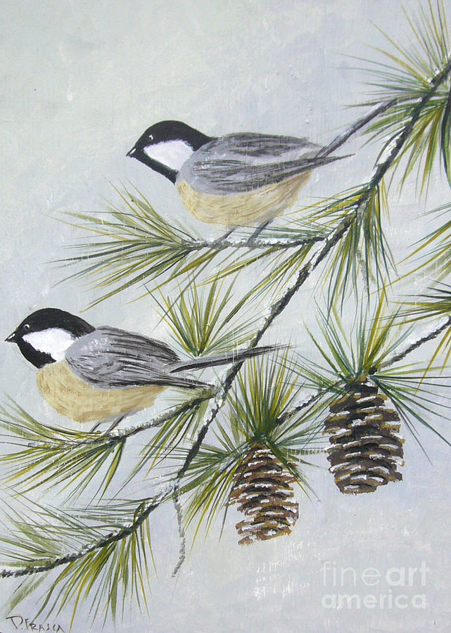 My Little Chickadees Painting
