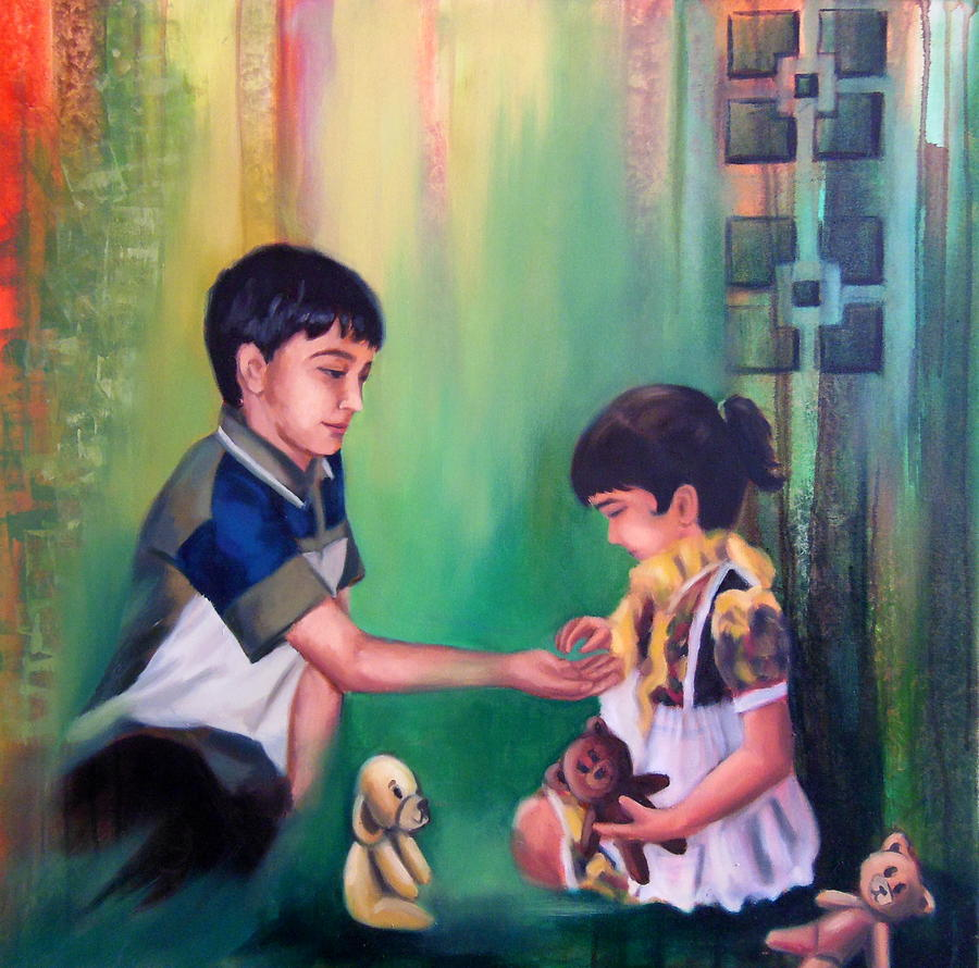 My Little Sister Painting by Romi Soni - My Little Sister Fine Art ...