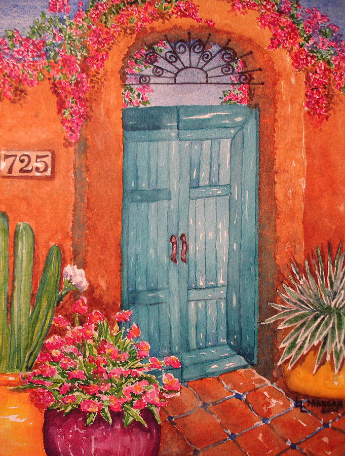 My Neighbors Blue Door  Painting  - My Neighbors Blue Door  Fine Art Print