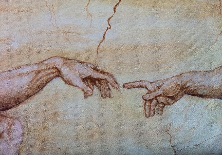 My rendition of the creation of adam by aaron druliner for Creation of adam mural