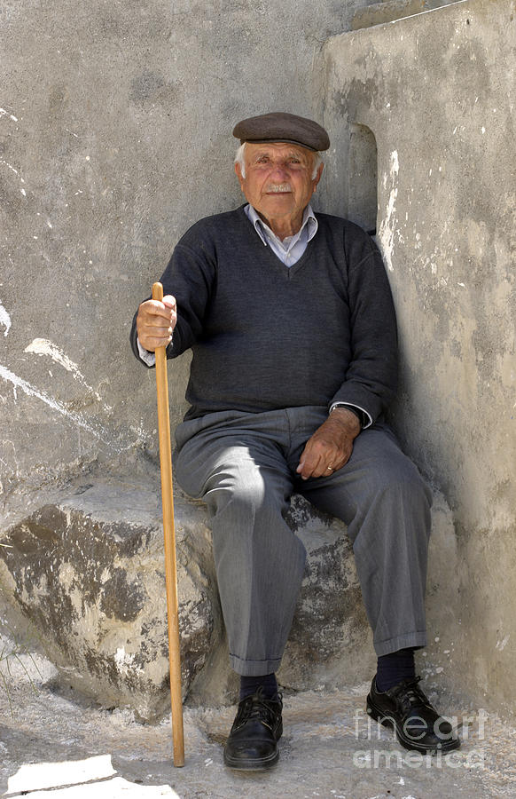 Mykonos Man With Walking Stick Photograph  - Mykonos Man With Walking Stick Fine Art Print