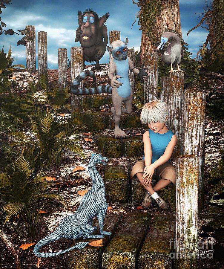3d Digital Art - Mysterious Path by Jutta Maria Pusl