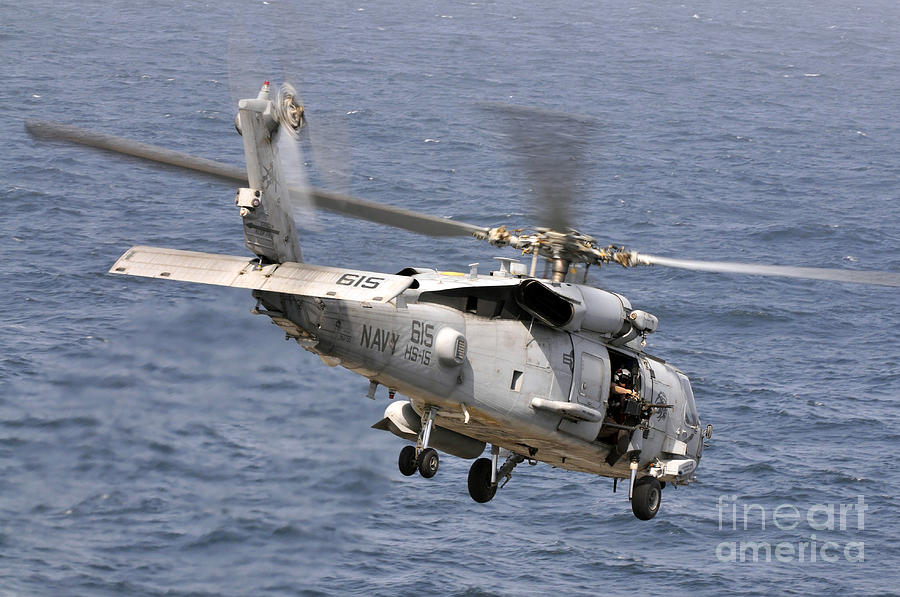 N Hh-60h Sea Hawk Helicopter In Flight Photograph