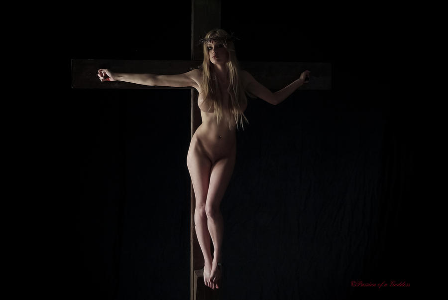 Naked Girl On Cross Photograph