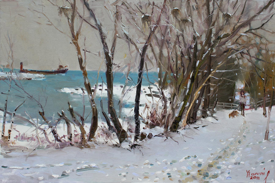 Naked Trees By The Lake Shore Painting