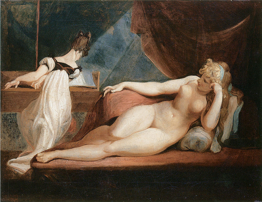 Naked Woman And Woman Playing The Piano Painting
