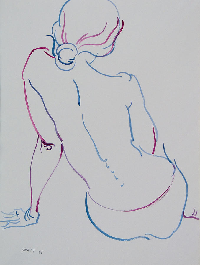 Naked Woman Sitting With Bare Back Drawing  - Naked Woman Sitting With Bare Back Fine Art Print