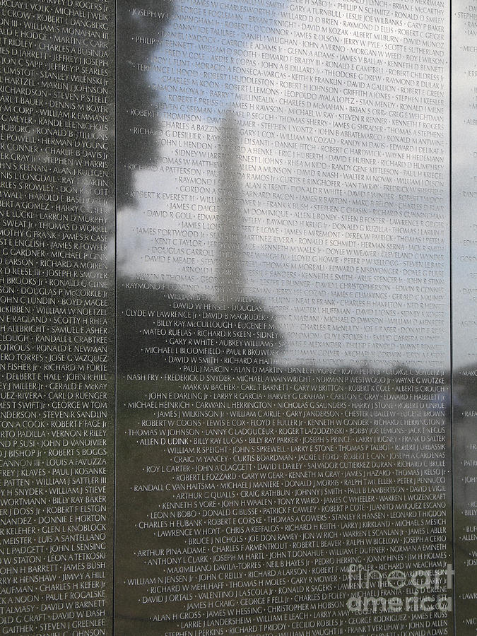Names On The Wall At The Vietnam Veterans Memorial In