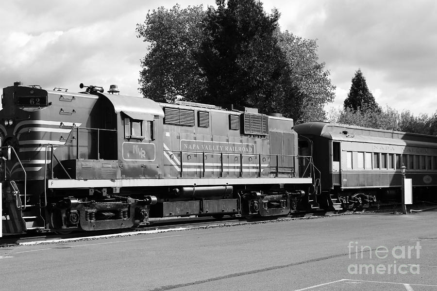 Napa Valley Railroad Wine Train Locomotive In Napa California Wine Country . Black And White . 7d899 Photograph  - Napa Valley Railroad Wine Train Locomotive In Napa California Wine Country . Black And White . 7d899 Fine Art Print