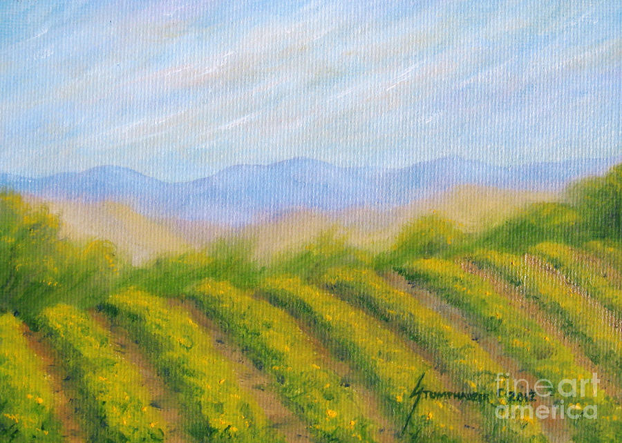 Napa Valley Vineyard Painting  - Napa Valley Vineyard Fine Art Print