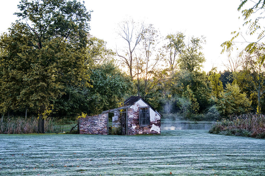 Narcissa Springhouse In Fall Photograph  - Narcissa Springhouse In Fall Fine Art Print