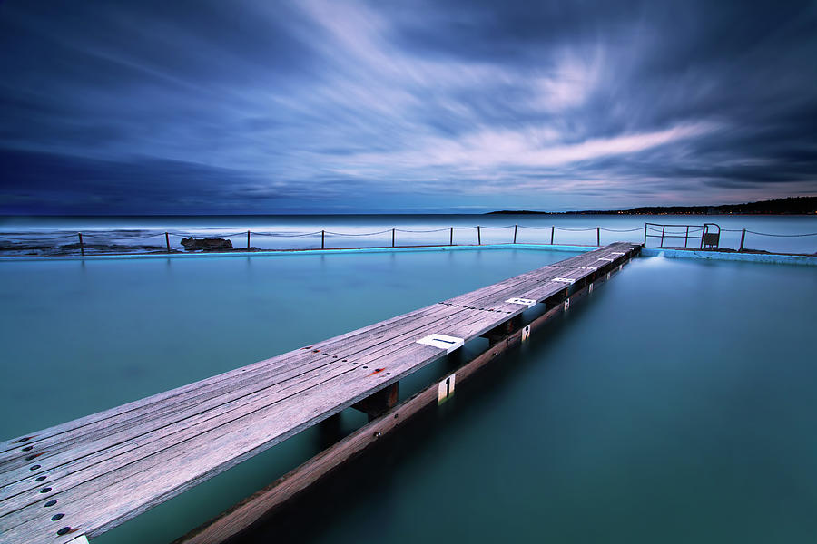 Horizontal Photograph - Narrabeen Tidal Pool By Night, Sydney, Australia by Yury Prokopenko