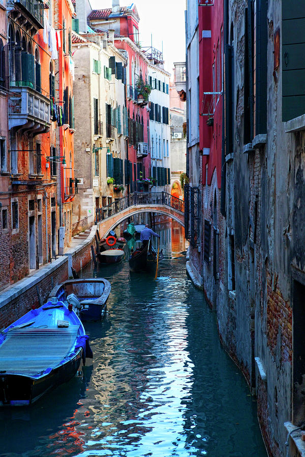 Narrow Canal View Venice Photograph  - Narrow Canal View Venice Fine Art Print