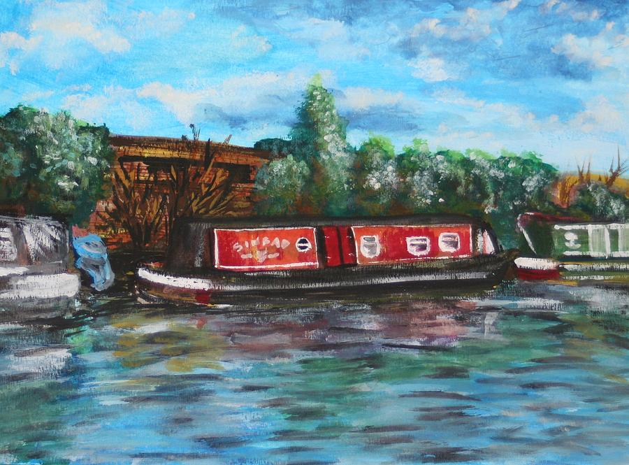 Narrowboat In Water-colour Painting  - Narrowboat In Water-colour Fine Art Print